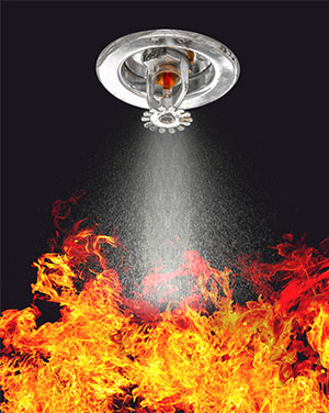 Sprinkler Putting Out a Fire Image