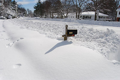 Snowy Road And Mailbox